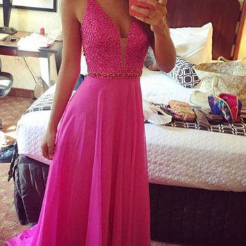 Casual Prom Dress Prom Gowns Pink Evening Dresses