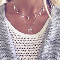 Fashion Multilayer Sequins Rhinestone Tassel Pendants Chain Necklace Choker Collar Women Jewelry  Moon Ancient Silver Necklace