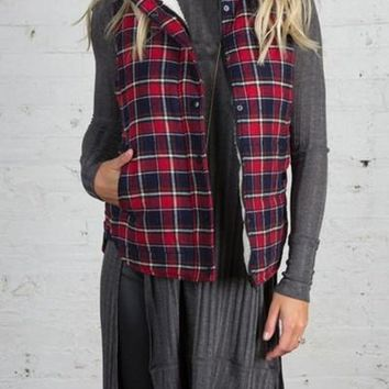 Mad for Plaid Sherpa Lined Vest FINAL SALE!