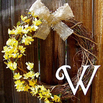 "Personalized 18"" Wreath, Front Door Decor, Burlap Bow Wreath, Year Round Wreath, Etsy Wreath, Floral Wreath"