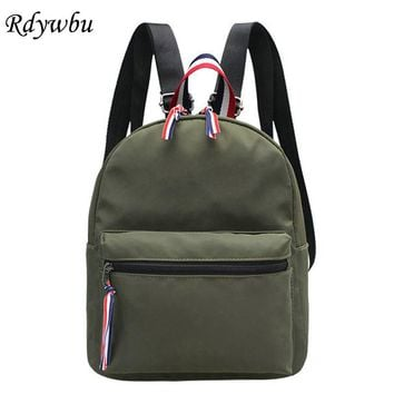 Rdywbu 2017 Summer Women's Waterproof Nylon Backpack High Quality Girl Solid Preppy Bagpack Mini Striped Zipper Travel Bag B105