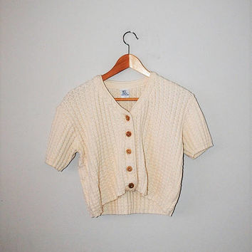 90s cream button up crop top vintage minimalist boxy knit tee medium