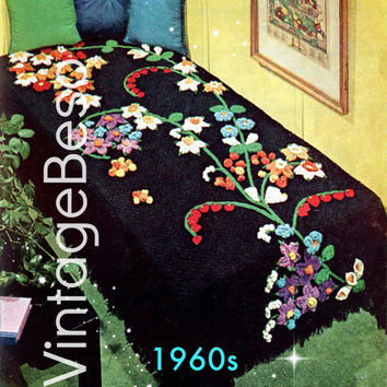 Instant Download CROCHET PATTERN Vintage 1960s Flower Fountain Crochet Pattern Bedspread Blanket Cover Cala Lily of the Valley PdF Pattern