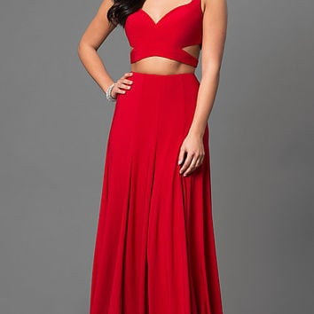Jersey Two Piece Prom Dress with Side Cut Outs