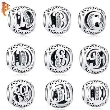 925 Sterling Silver Jewelry Crystal Alphabet A-Z Letter Charms Beads Fit Original Pand