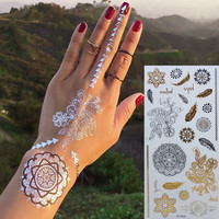 Gold Choker Temporary Tattoo Body Art Sleeve Arm Flash Tattoo Stickers 21*10.3cm Waterproof Tatto Henna Fake Tatoo Beauty Selfie