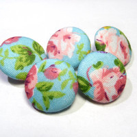 Turquoise pink rose buttons, cloth buttons, Fabric Covered Buttons, small buttons, children buttons, plastic shank girl buttons