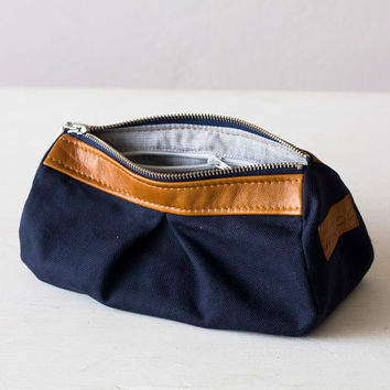 Cosmetic bag, makeup case in blue canvas and light Brown leather