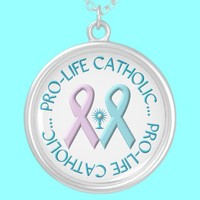 Pro-Life Catholic w/Monstrance & Pink/Blue Ribbons Jewelry from Zazzle.com