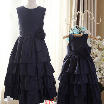 20% OFF !!!Navy Blue Taffeta Tiered Flower Girl Dress Children Birthday Party Dress Kids Dress with Navy Blue Sash/Flower(Z1029)