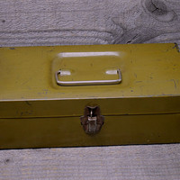 Industrial Small Olive Green Steel Box with Hinged Lid Bail Handle Flip Closure