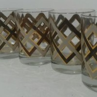 Culver Ltd Old Fashioned Cocktail Glasses Set of 6 White Amber 22 Karat Gold