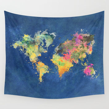 world map 93 #worldmap #map #world Wall Tapestry by jbjart