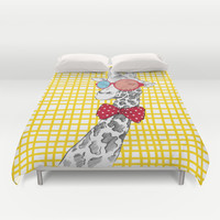 3D Giraffe / Yellow White & Red Print Duvet Cover by CPT HOME