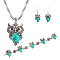 Turquoise Owl Necklace Bracelet and Earrings Set