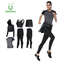 Yoga suits women sportswear female long sleeved trousers fitness gym running sets quick dry gym clothes 6pcs