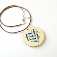 Embroidery Necklace, Wooden Pendant Necklace, Hand Embroidered Pendant, Blue Navy, Abstract Modern Gifts Stockings Under 10 Wood Heart