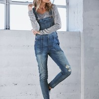 Bullhead Denim Co. Dairy Blue Ripped Utility Overalls - Womens Jeans - Blue