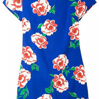 Blue Flower Print Short Sleeve Back Zipper Shift Dress