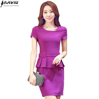 Work wear women's short-sleeve one-piece dress OL summer Elegant hem ruffles slim Dresses office ladies plus size formal uniform