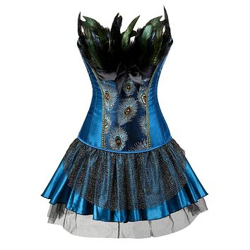 Corsets Bustiers Peacock Embroidery Princess Costumes Feather Plus Size