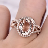 Oval Morganite Engagement Ring Sets Diamond Infinte Love Shank 14K Rose Gold 8x10mm