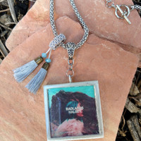 Halsey Badlands Album Necklace Front and Back Covers with Tassles Altered Fan Art