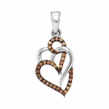 10kt White Gold Women's Round Cognac-brown Color Enhanced Diamond Triple Heart Pendant 1-4 Cttw - FREE Shipping (US/CAN)