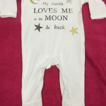 I love nanny  auntie uncle grandad mummy daddy etc to the moon and back 1x sleepsuit