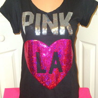 Glam Victoria's Secret PINK LA LOS ANGELES Bling Sequin Heart T Shirt Top Tee S