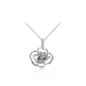 Gift New Arrival Shiny Korean Stylish Jewelry Diamonds Floral Necklace [9281920132]