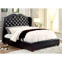 Gloria Transitional Leatherette Wingback E. King Bed in Black