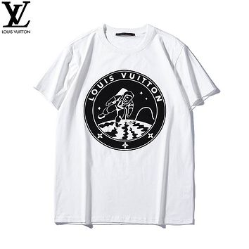 LV 2019 early spring new spaceman printing couple models round neck short-sleeved T-shirt white