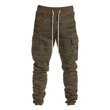 Army Camo Military Sweatpants Big Pockets Cargo Trousers