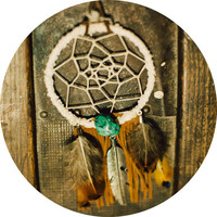 fringe DREAMCATCHER necklace // hippie boho festival jewelry- feather turquoise dyed howlite // long white dream catcher earth gypsy wear