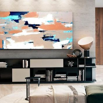 Wide Paintings Acrylic Painting Beige Art Blue Painting Large Abstract Oil Painting Oversize Painting Extra Large Wall Art Abstract Painting