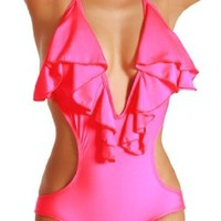 Amazon.com: Cloris Murphy Lingerie Sexy Rose Pink Ruffled Halter One Piece Monokini Swimwear BN303PK One Size Rose Pink: Clothing