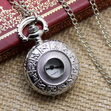 Small Hollow Silver Zodiac Design Fob Pocket Watch With Necklace Chain Gift To Men Women