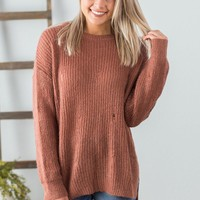 Distressed Sweater- Brick