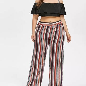 Crop Top And Striped High Waisted Palazzo Pants