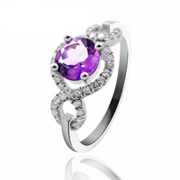 Round Amethyst Engagement Ring