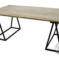 Numéro 6 Wooden Dining Table with Iron Sawhorse Legs