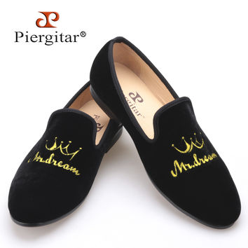 New style crown embroidery handmade men velvet shoes men wedding and party shoes men flats