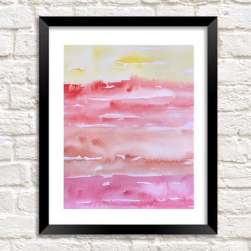 Abstract Watercolor Print, original Sunset painting, Abstract artwork, Beach house Topical decor, orange and yellow wall art, serene