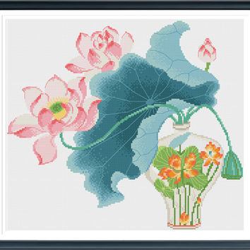 Lotus 612294 Cross Stitch Pattern, Cross Stitch PDF, Flower Cross Stitch, Instant Download, Free Shipping
