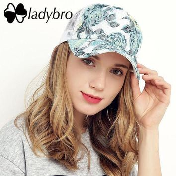 DCCKWJ7 Ladybro Brand Women Hat Cap Female Casual Lace Net Cap Trucker Hat Snapback Female Mesh Hat Summer Flower Black Cap Bone