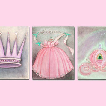 Princess Decor, Nursery Prints, Baby Girl Nursery, Crown, Nursery Wall Art, Carriage, Princess Dress, Princess Wall Art, Nursery Decor