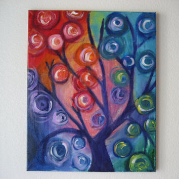 """Swirl Tree Modern Acrylic Painting on Canvas - 18x24"""" Artwork in Cool Shades of Pink, Red, Blue, Green and Purple with Swirls for Leaves"""
