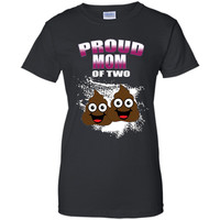 Funny Emoji Mothers Day T Shirt Proud Mom Of Two Poops  - mother's day