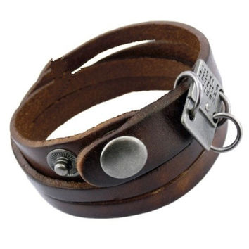 Real Leather Personalized Bracelet Wrap Women S Bangle Men Cuff